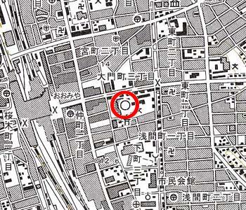 大宮区役所付近の地形図