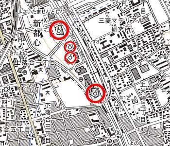 さいたま新都心付近の地形図