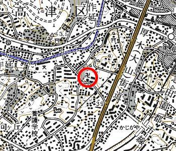 川崎市高津区付近の地形図