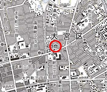 さいたま市立博物館付近の地形図