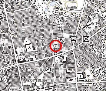 さいたま市立大宮図書館付近の地形図