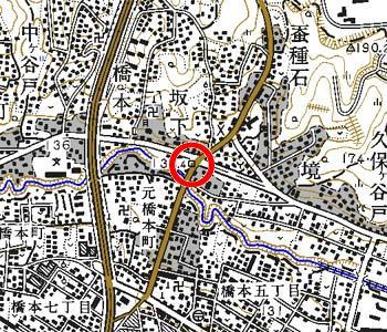 東京都町田市付近の地形図