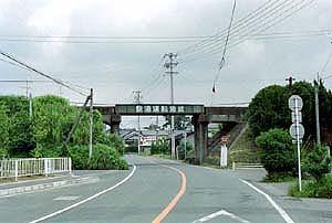 道路と鉄道の立体交差の画像