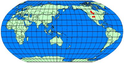 パラサウロロフスの産地 : アメリカ、カナダ