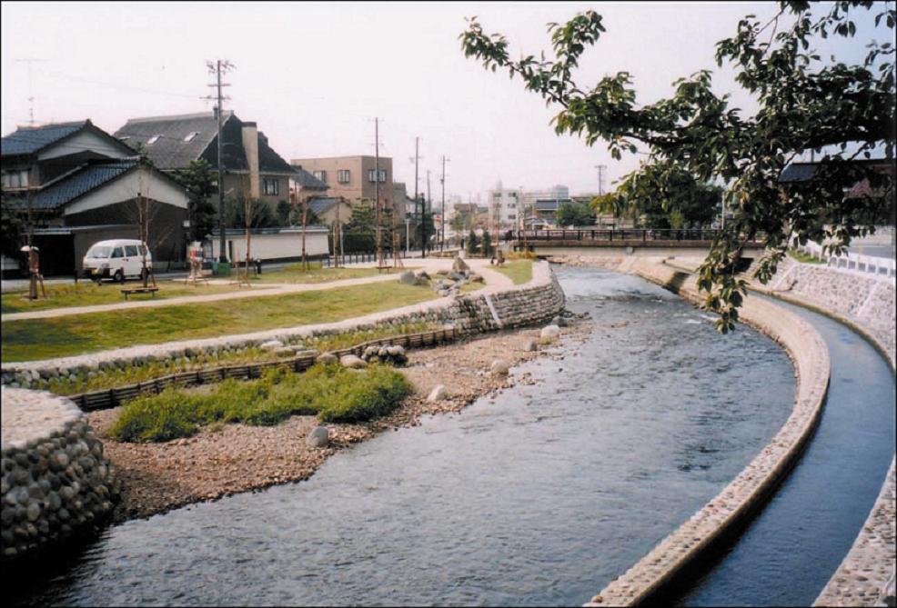 いたち川の水辺と清水