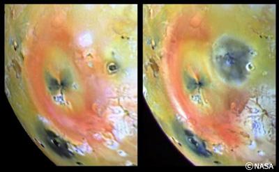 ガリレオが撮影した「イオ」の表面。左が97年4月、右が同年9月のもの。4月のものに比べて9月のものには、右上に大噴火跡らしい黒い痕跡が見られる。