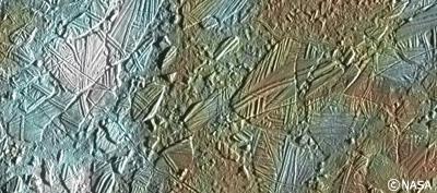 ガリレオがとらえた木星の衛星エウロパの地表