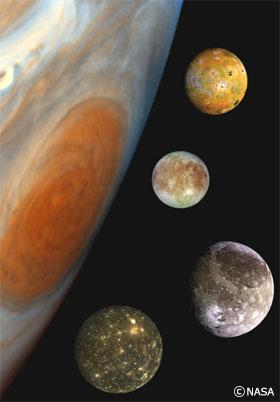 木星と、ガリレオ・ガリレイが発見したイオ、エウロパ、ガニメデ、カリストの4つ大きな衛星(イメージ)